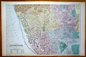 LIVERPOOL SOUTH, DOCKS, CITY AND STREET PLAN, BACON Antique Map 1895