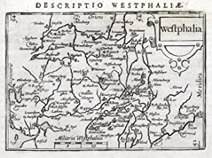 GERMANY, WESTPHALIA, WESTFALEN, OSNABRUCK BERTIUS. original antique map 1606