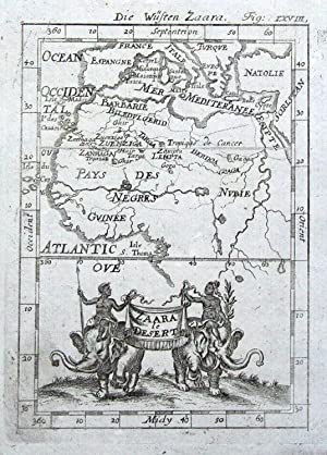 AFRICA, SAHARA DESERT Allain Mallet original antique map 1719
