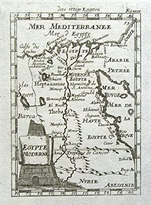 EGYPT MODERNE A.Mallet original antique map 1719