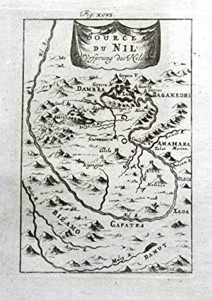 SOURCE OF THE RIVER NILE, EGYPT Mallet Antique Map 1719