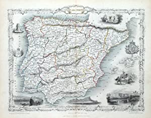 SPAIN & PORTUGAL, RAPKIN & TALLIS original antique illustrated map c1850