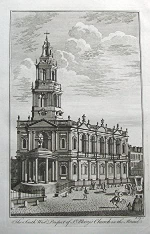 St. MARY'S CHURCH, THE STRAND, LONDON, Maitland original antique print 1756