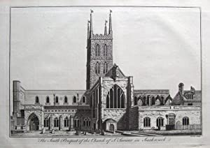 St. SAVIOURS, SOUTHWARK CATHEDRAL, LONDON, Maitland antique print 1756