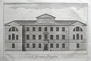 St.GEORGE'S HOSPITAL, HYDE PARK CORNER, LONDON, Maitland antique print 1756
