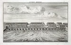 LONDON BRIDGE, Maitland original antique print 1756