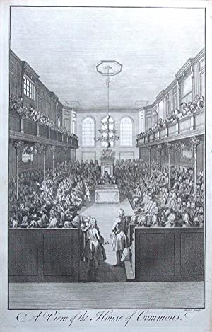 HOUSE OF COMMONS, LONDON, HOUSES OF PARLIAMENT, Maitland antique print 1756