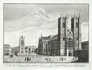 WESTMINSTER ABBEY, LONDON, Large Maitland original antique print 1756