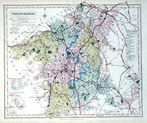 WORCESTERSHIRE, Walker Hand Coloured Antique County Railway Map, 1877