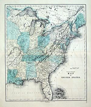 UNITED STATES OF AMERICA, Gall & Inglis original antique hand coloured map c1850