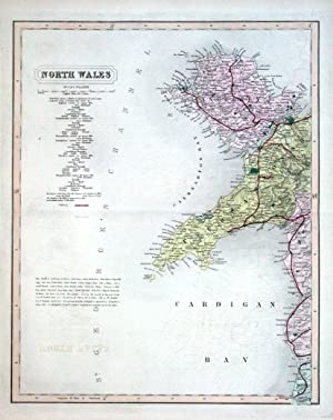 NORTH WALES, Two Hand Coloured Antique County Railway Maps , Walker 1877