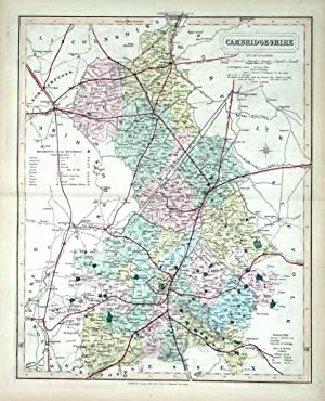 CAMBRIDGESHIRE, Walker Hand Coloured Antique County Railway Map , 1877
