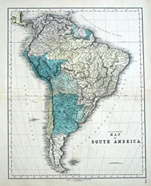 SOUTH AMERICA, Gall & Inglis original antique map c1850