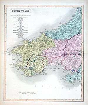 SOUTH WALES, Two Hand Coloured Antique County Railway Maps , Walker 1877