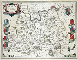 SURREY, J.BLAEU Original antique hand coloured map c1645