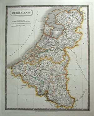 NETHERLANDS, HOLLAND, BELGIUM, LUXEMBOURG S.Hall large original antique map 1828