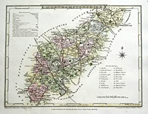 NORTHAMPTONSHIRE Cole & Roper Original hand coloured antique map 1807