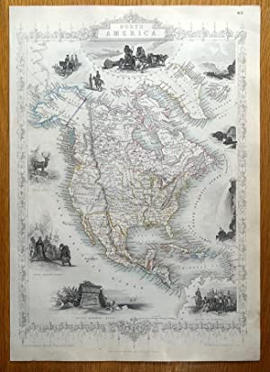 NORTH AMERICA, USA, CANADA, RAPKIN & TALLIS original antique illustrated map c1850