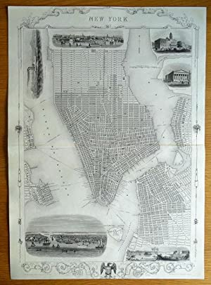 NEW YORK CITY Street Plan RAPKIN & TALLIS original antique illustrated map c1850