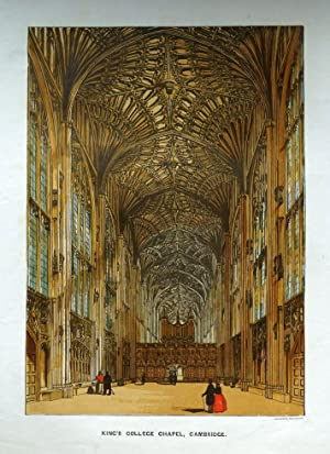 KING'S COLLEGE CHAPEL, CAMBRIDGE UNIVERSITY, original antique print c1865