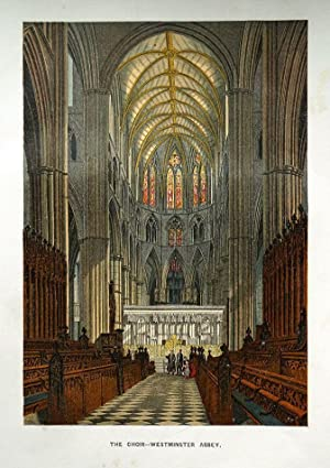 THE CHOIR, WESTMINSTER ABBEY, LONDON original coloured antique print c1865
