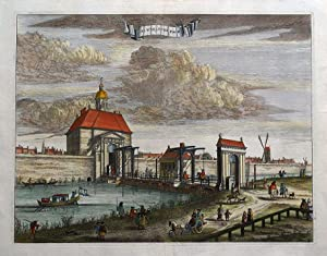 AMSTERDAM, DE WEESEPER POORT, ORPHANAGE GATE, Commelin antique print 1693