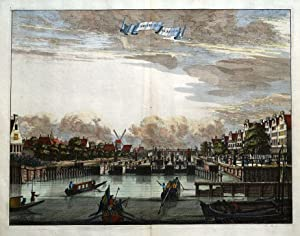 AMSTERDAM, AMSTEL, D'AMSTEL SLUYS EN BRUGH Commelin original antique print 1693