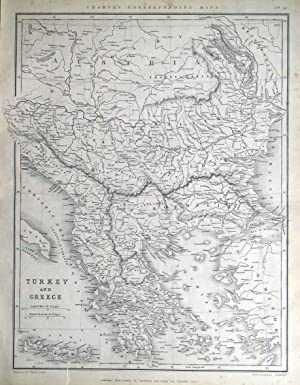 TURKEY, GREECE, BOSNIA, SERBIA,BULGARIA,ROMANIA Sharpe original antique map 1849