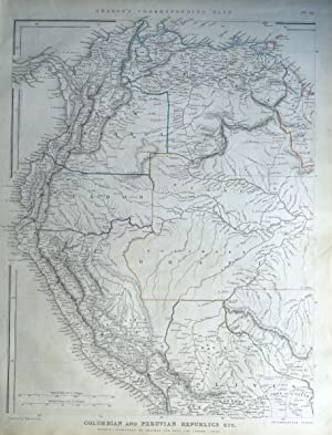 S.AMERICA, COLUMBIA,VENUZUELA, GUYANA,ECUADOR,SURINAME Sharpe antique map 1849