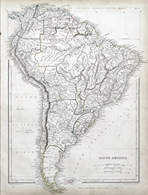 SOUTH AMERICA, Sharpe original antique map 1849
