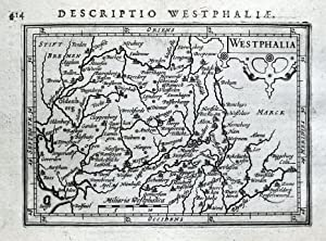 WESTFALEN,GERMANY, MUNSTER,DUSSELDORF, OLDENBURG BERTIUS original antique map 1618