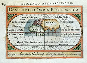 WORLD, DESCRIPTIO ORBIS PTOLOMAICA, BERTIUS original antique miniature map 1618