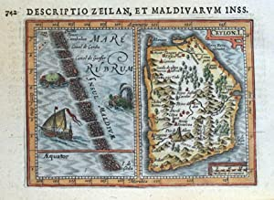 CEYLON I. SRI LANKA, MALDIVES, BERTIUS original antique miniature map 1618