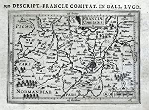 PARIS, MEAUX, St.DENIS, BEAUVAIS, COMPIEGNE, FRANCE, BERTIUS antique map 1618