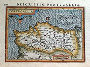 PORTUGAL, PORTUGALLIA, BERTIUS original antique hand coloured miniature map 1618