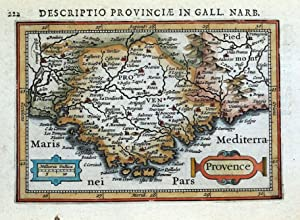 PROVENCE, SOUTH OF FRANCE, MONACO, BERTIUS original antique miniature map 1618