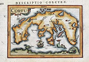 CORFU, KERKYRA, GREECE, P.BERTIUS original antique miniature map 1618