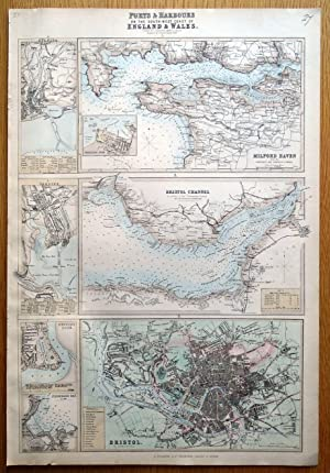 PORTS & HARBOURS SW COAST UK,BRISTOL,SWANSEA, CARDIFF Fullarton antique map c1865