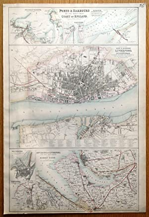 PORTS & HARBOURS NW COAST UK, LIVERPOOL, LANCASTER Fullarton antique map c1865