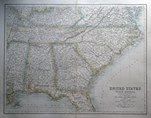 UNITED STATES OF NORTH AMERICA, S.E. STATES Fullarton original antique map c1860
