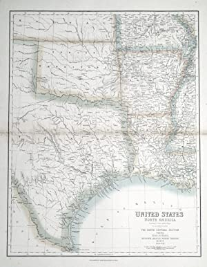 UNITED STATES, NORTH AMERICA, SOUTH CENTRAL USA Fullarton antique map c1860