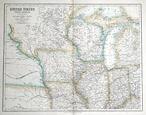 UNITED STATES, NORTH AMERICA, NORTH CENTRAL USA Fullarton antique map c1860