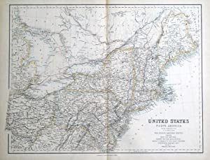 UNITED STATES NORTH AMERICA, NORTH EAST USA Fullarton original antique map c1860