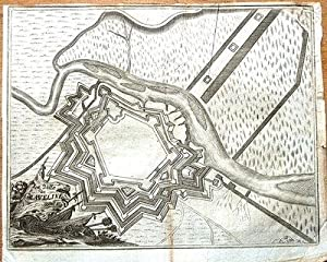 FLANDERS, GRAVELINES, Francois Foppen Antique Fortified Town Map 1720