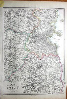 IRELAND, DUBLIN & DISTRICT, Dispatch Atlas, Original Antique Map 1860
