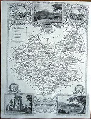 LEICESTERSHIRE , Thomas Moule Antique County Map c1850
