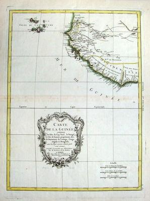 AFRICA, GUINEA, Bonne original hand coloured antique map 1771