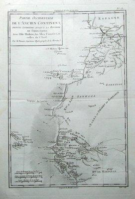 AFRICA, MOROCCO,MADEIRA, CANARY Is. SENEGAL, Bonne original antique map c1770