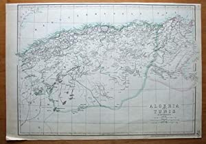 ALGERIA, TUNISIA Weller orig. antique map c1860