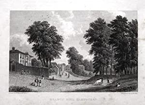BRANCH HILL,HAMPSTEAD NORTH LONDON, Antique Print 1829